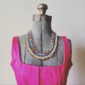 Jewelry - Statement necklace, Pink, blue, tan & gold